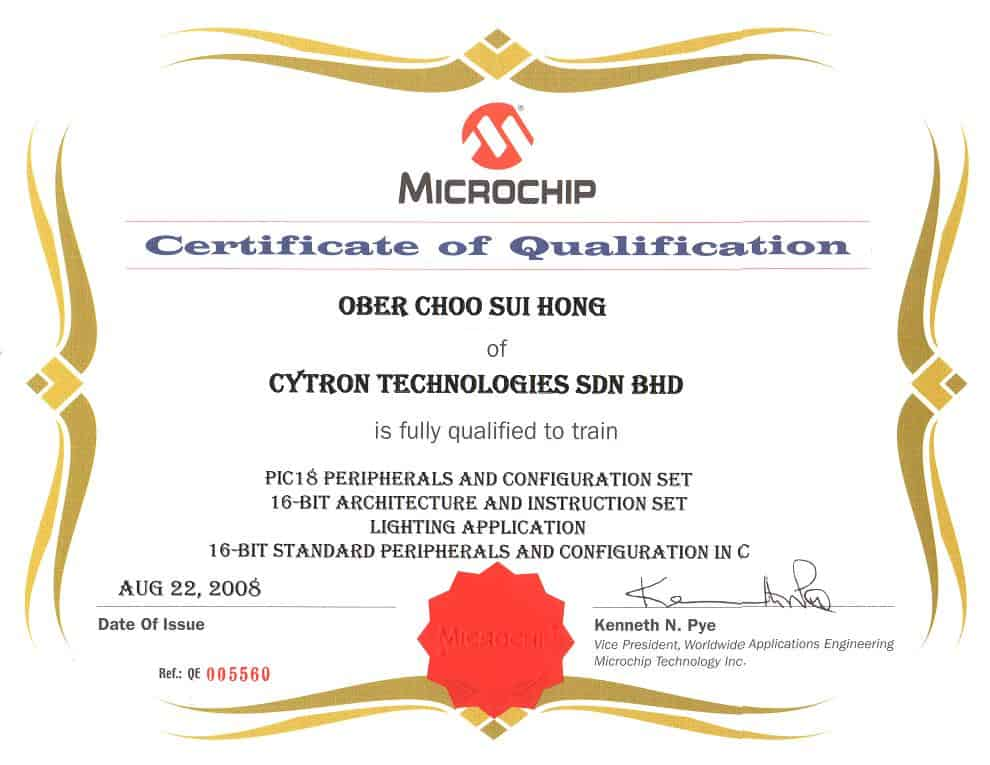 Cytron Technologies as 3rd Party Microchip Training Center