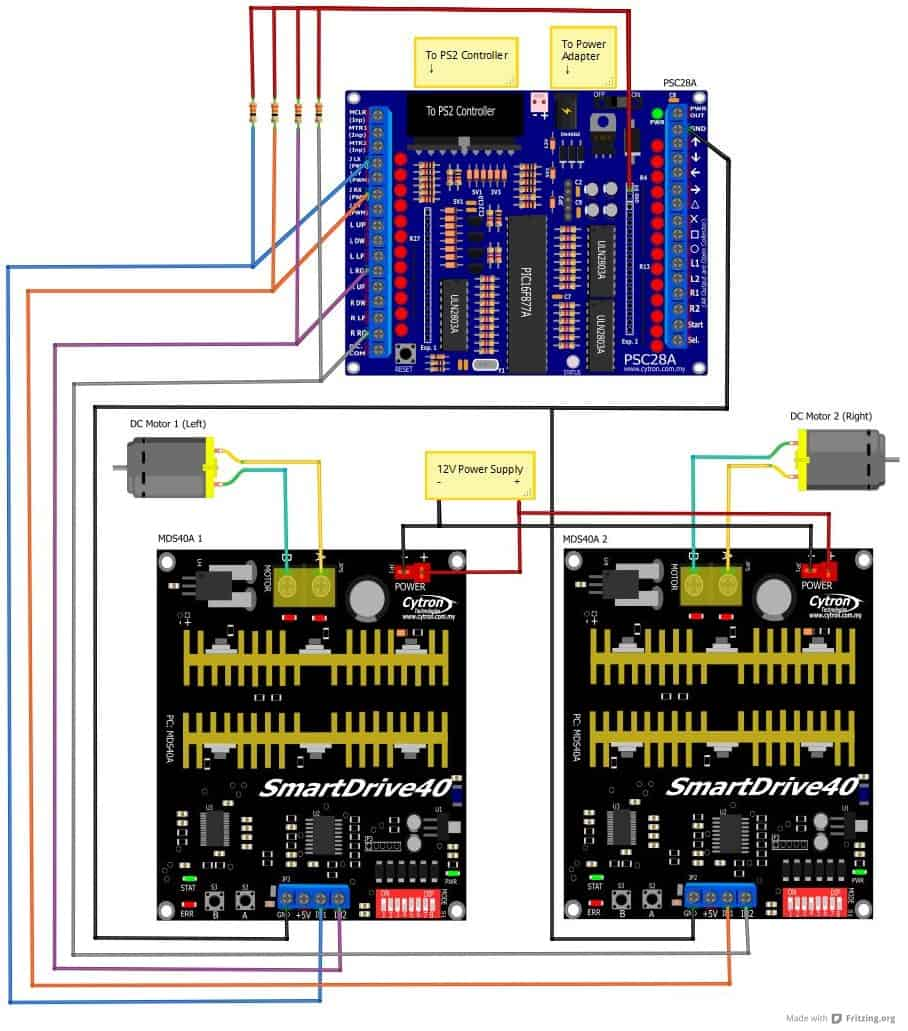 Psc28a Controlling Md10c And Mds40a Tutorial By Cytron Dc Motor Brush Wiring Diagram Figure 12 Connection Between Two With Motors