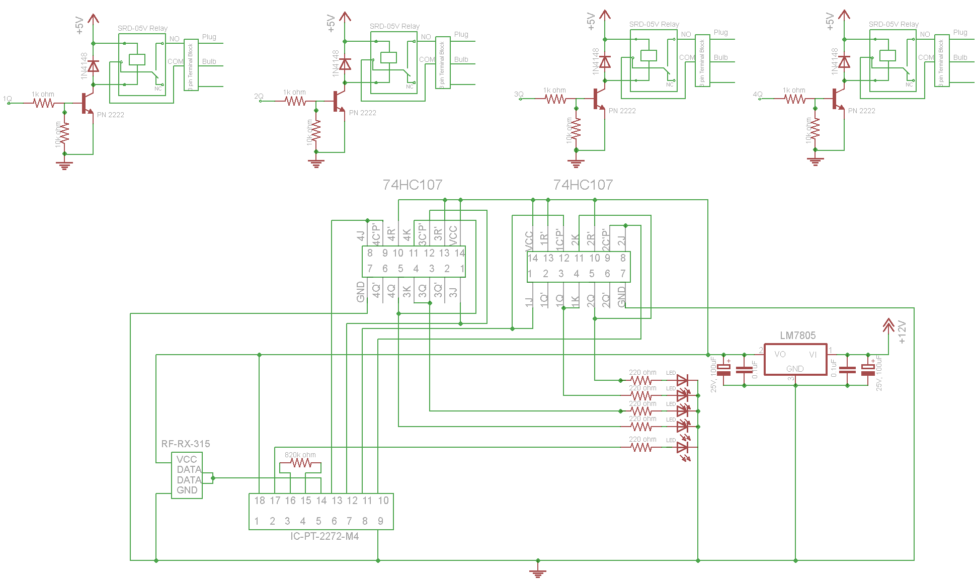 Remote Control 315mhz By Using Rf Encoder And Decoder Relay Switch Circuit Diagram I Schematicclick