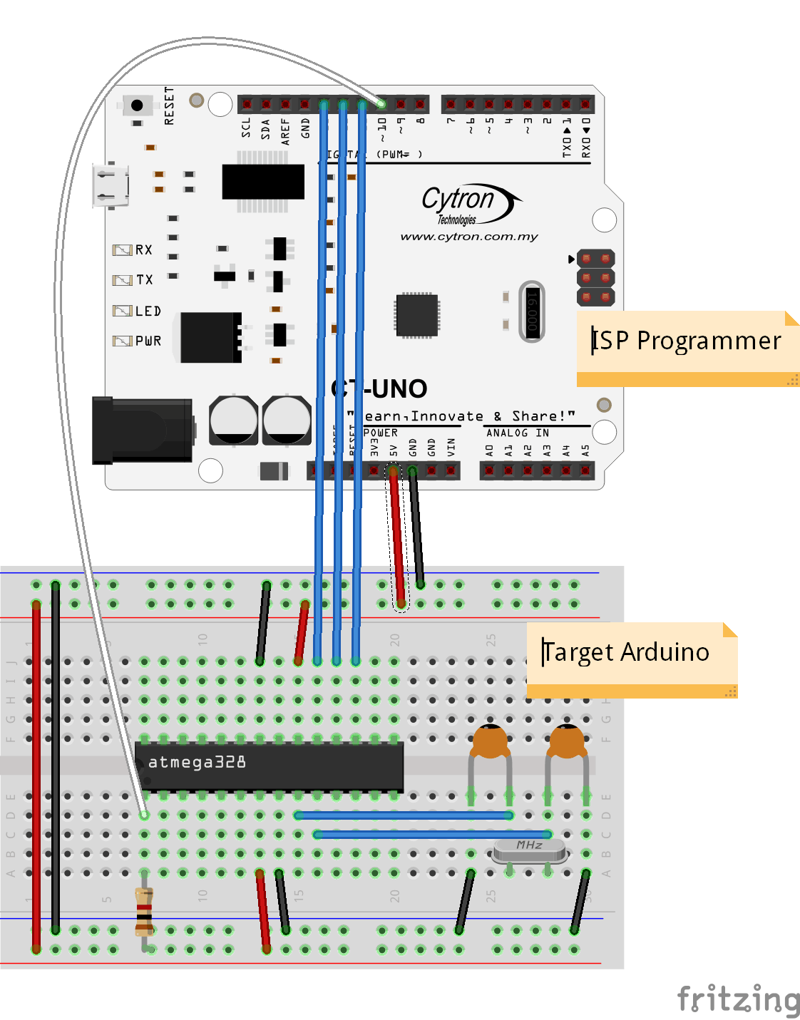 Using Isp To Burn Bootloader Into Arduino Tutorial By Cytron Robot Avr Microcontroller Atmega 8 Circuit Diagram Code Ct Uno Bb