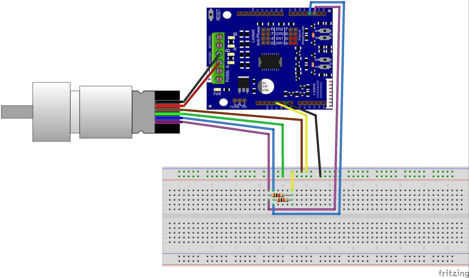 arduino 2a motor shield encoder motor tutorial by cytron Arduino Uno Drawing Arduino Uno Wiring