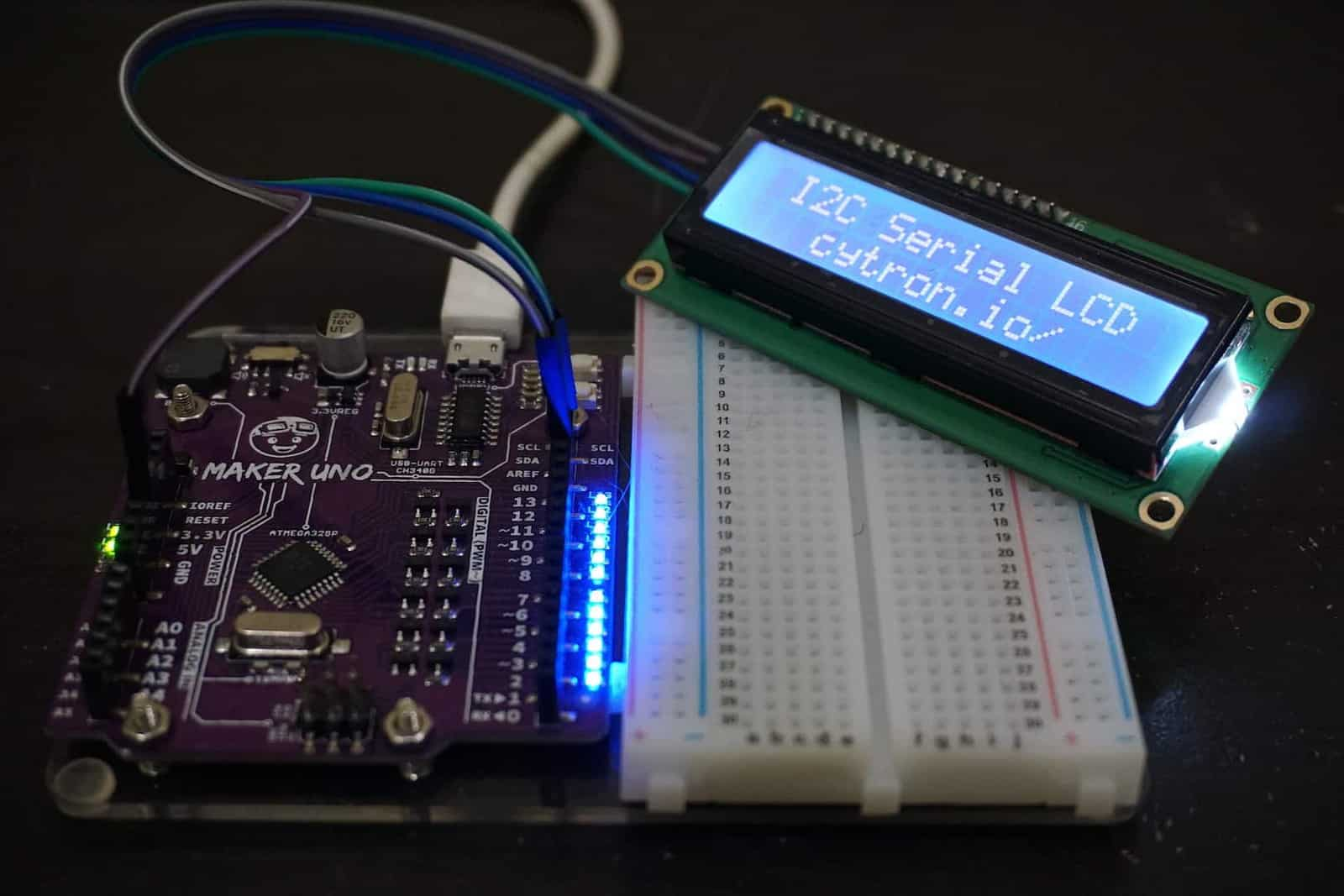 Getting Started of I2C Serial LCD with Arduino (Maker UNO